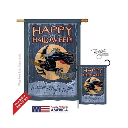 Breeze Decor 12063 Halloween A Spooky Night To All 2-Sided Vertical Impression House Flag - 28 x 40 in.