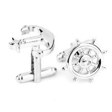 Anchor and Wheel Silver Cuff Links Stylish Mens Cufflinks Sailor