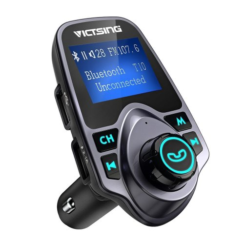 FM Transmitter, VicTsing Car MP3 Player FM Transmitter Bluetooth Handsfree Car Kit Wireless Radio Audio Adapter with Dual USB 5V 2.1A USB Charger,...