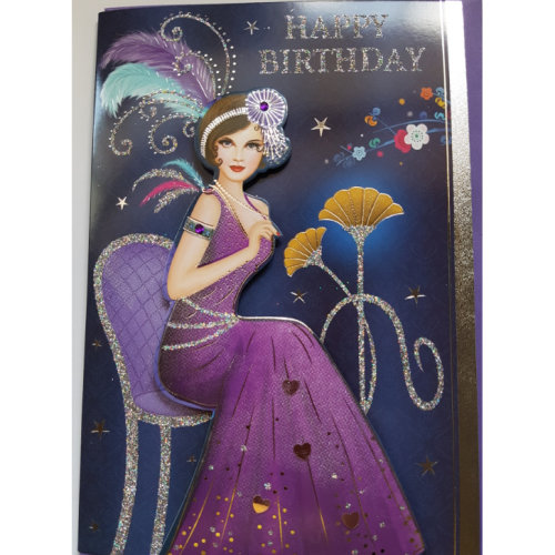 Art Deco Lady ~ Glittered Decoupage Birthday Card with Gem Detail