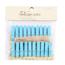 Mini Natural Wooden Clothespins Photo Paper Peg Pin Craft Clips with 2m Jute Twine, E