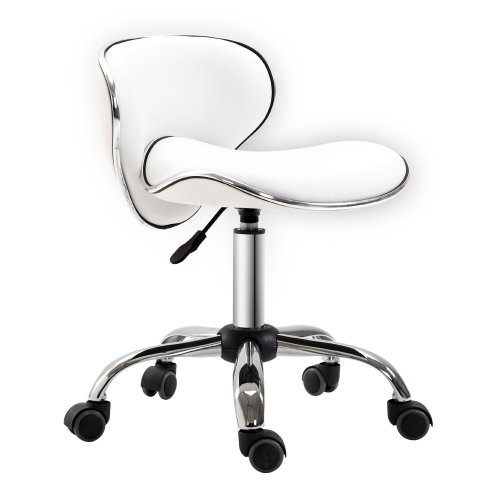 Homcom Adjustable Rolling Swivel Beauty Salon Chair - White