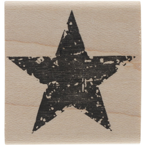 "Tim Holtz Mounted Red Rubber Stamp 1.5""X1.5""-Star Silhouette"