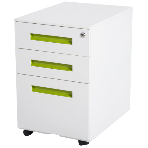 Vinsetto Metal Lockable File Cabinet Pedestal Document Organiser Home Office Mobile with Casters 3 Drawers -White