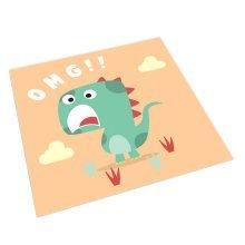 Square Cute Cartoon Children's Rugs, Khaki And Surprised Cartoon Dinosaur