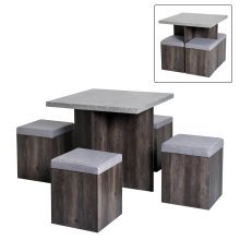 HOMCOM 5 Pcs Dining Table Set, Particle Board-Grey