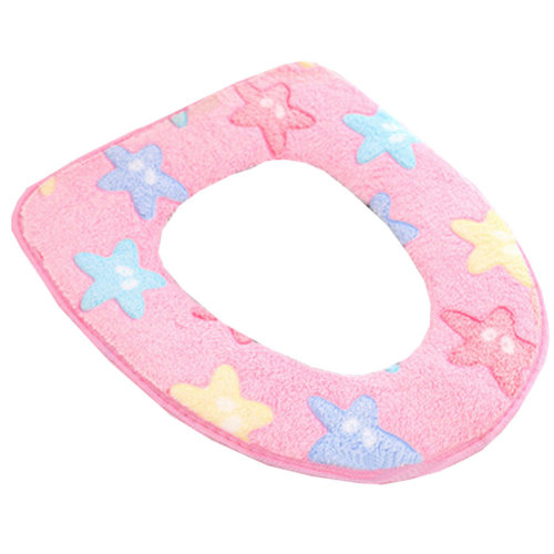 Stylish Toilet Lid/Toilet Seat Cover,Winter Warmer/Soft Cushion Star Pink