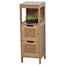 Tendance Mahe Bamboo Door Cabinet and 2 Mdf Drawers + 1 Shelf, Wood, White/Oak, 30x30x89.5 cm