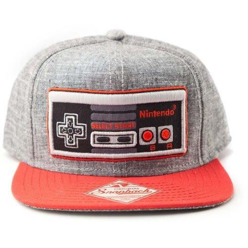 Nintendo Original Embroidered Retro NES Controller Unisex Snapback Baseball Cap - One Size - Grey/Red (SB08NONCT)