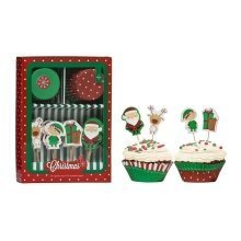 48pc Christmas Cupcake Cases & Toppers Set