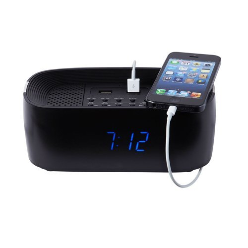 Groov-e Bluetooth Wireless Alarm ClockRadio with USB Phone Charging Points - Black