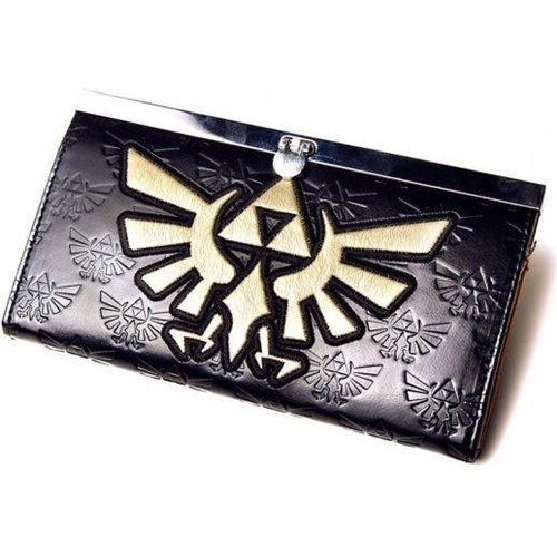 NINTENDO LEGEND OF ZELDA Girls Gold Link Logo Purse Wallet, Black