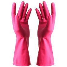 Thin Clean Rubber Gloves To Wash Dishes Waterproof Gloves(Watermelon Red)