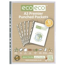 A3 PREMIER QUALITY PORTRAIT PUNCHED POCKETS CLEAR SLEEVE ECO013