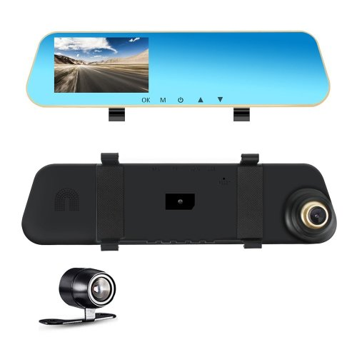 Dual Lens Dash Cam, Car Dashboard Camera Rear View Mirror Front and Rear