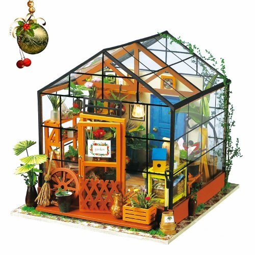 Rolife DIY Dolls House kit Wooden Dollhouse Miniature Dolls House With Furniture Kit Woodcraft Construction Kit Mini Handmade Green House with LED...