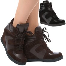 Becky Womens Concealed Wedge Heel Lace Up Trainers