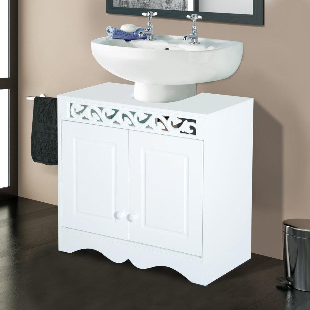 Brilliant Homcom Bathroom Under Sink Storage Cabinet 2 Door Wooden Cupboard Vanity Units Beutiful Home Inspiration Ommitmahrainfo
