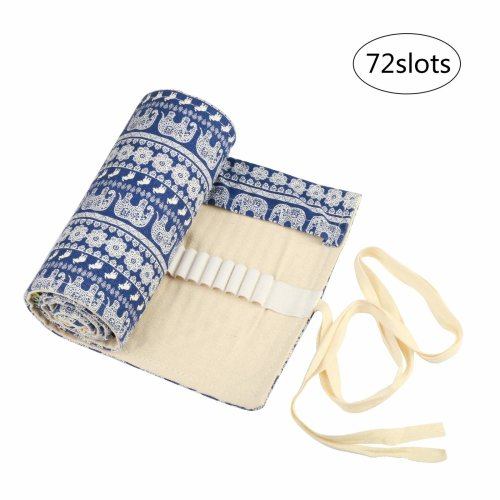 Canvas Pencil Wrap KAKOO 72 Holes Pencil Roll up Case Travel Pen Bag Holder Organizer Storage Pouch for School Office Art Craft