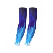 UV Sun Protection Arm Sleeves Breathable Long Sleeves To Cover Arms Blue Flame