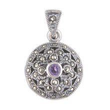 Childrens Sterling Silver Amethyst & Marcasite Fancy Round Locket On A Curb Necklace