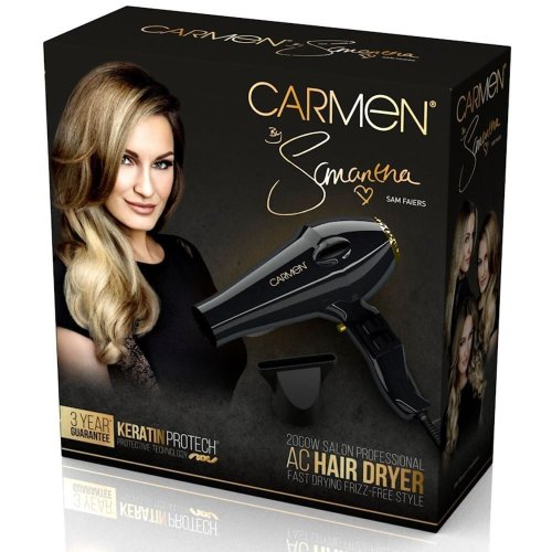Carmen by Samantha AC Professional Hair Dryer Frizz-Free inc Concentrator Nozzle