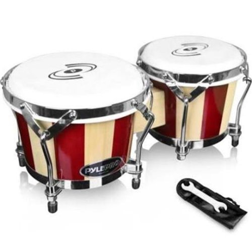 Pyle PBND10 Hand-Crafted Wooden Bongos