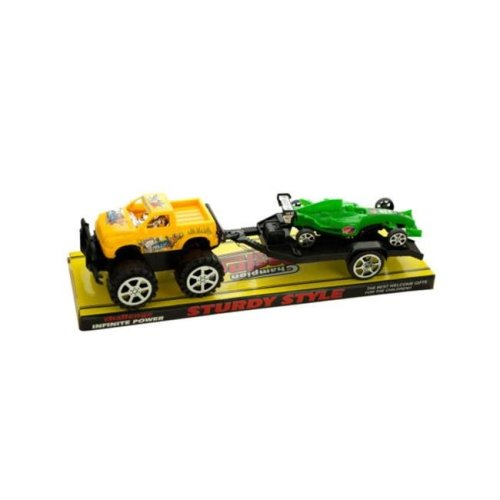 Kole Imports KL255-4 12.5 x 3.5 in. Friction Off Road Trailer Truck with Race Car, Pack of 4