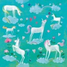 4 x Paper Napkins - White Unicorns  - Ideal for Decoupage / Napkin Art