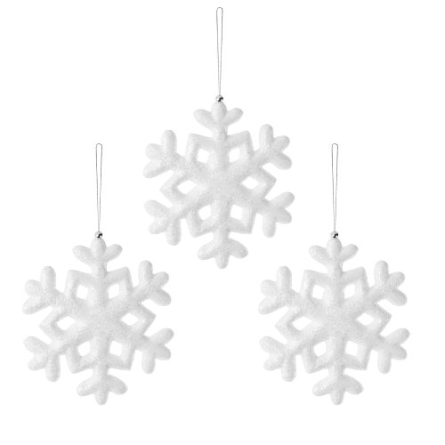 Set of Three 20cm Hanging White Snowflake Decorations