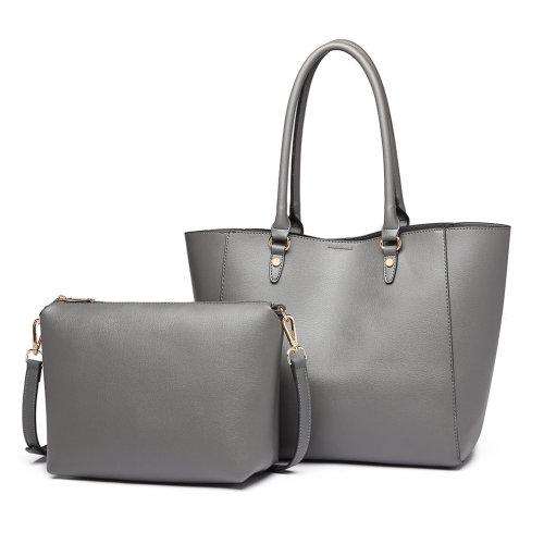 Miss Lulu Women Leather Handbag Shoulder Bag Purse Set Grey
