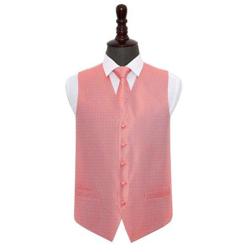 Coral Greek Key Wedding Waistcoat & Tie Set 42'