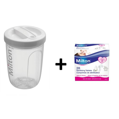 Milton Solo Single Bottle Steriliser & Milton Sterilising Tablets 28 Tabs 2 Items