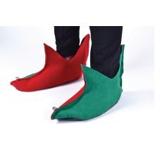 Green & Red Adult's Elf Shoes -  shoes elf fancy dress christmas red green boots bells felt FANCY DRESS ELF GREEN RED SHOES PIXIE CHRISTMAS ADULT