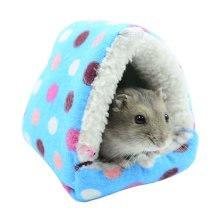Best Pet Supplies Home for Hamster Cute Cartoon Soft Warm Washable Pet Bed BLUE