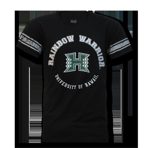 W Republic Mens Football Tee Hawaii, Black - Extra Large