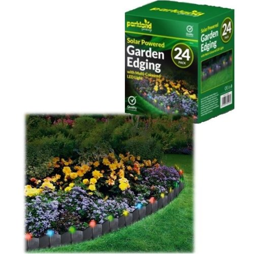 24 X Solar Powered Light Up Garden Edging - Multi Coloured