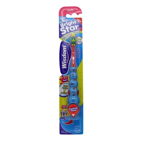 Wisdom Step-by-Step Brightstar Flashing Toothbrush Red/Blue