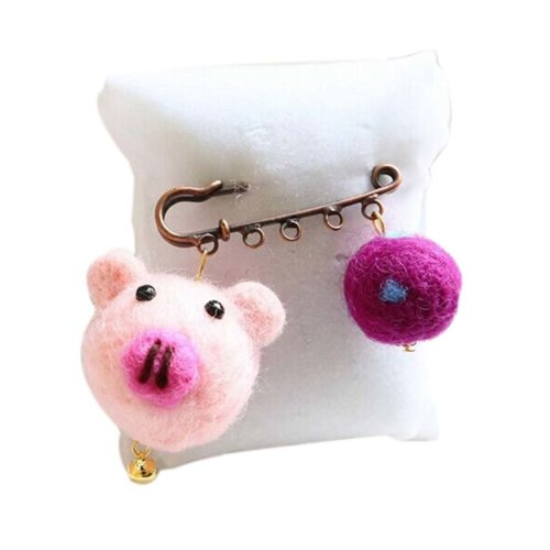 Cute Cartoon Animal Wool Felt Brooch Pin Clothing Accessories, Pig
