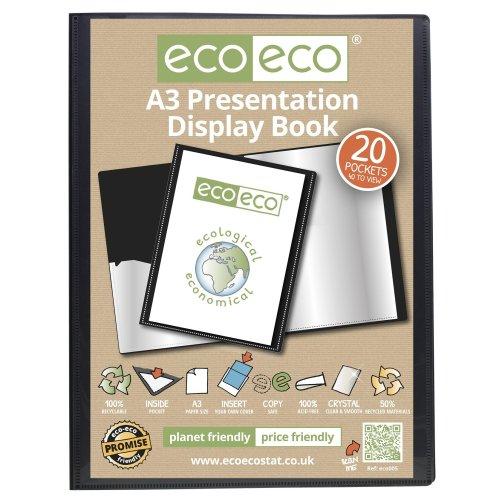 1 x A3 Recycled 20 Pocket (40 Views) Presentation Display Book - Black