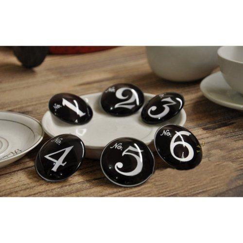 Pretty Number Magnets 1-6 Black Crystal Magnets Fridge Stickers