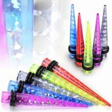 Urban Male Five Pack of UV Acrylic Ear Stretchers Tapers Holographic Design 3mm