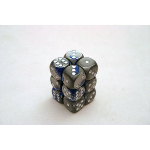 Chessex Gemini 16mm D6 x 12 - Blue-Steel/white
