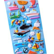 5 Sheets Funny Cartoon Stickers Children Decorative Toys[Steamship]