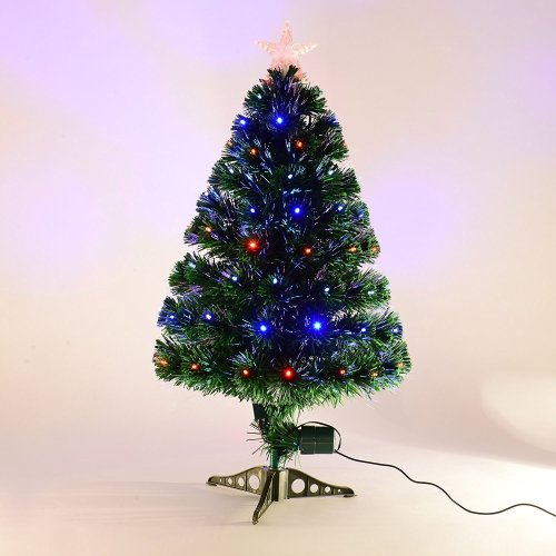 Homcom 3ft Green Fibre Optic Artificial Christmas Tree Indoor Lights Tree Multi Colour Led Lights (3ft (90cm)