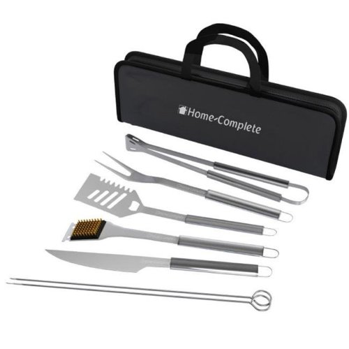 Home-Complete HC-1004 Stainless Steel Barbecue Grilling Accessories with 7 Utensils & Carrying Case BBQ Grill Tool Set