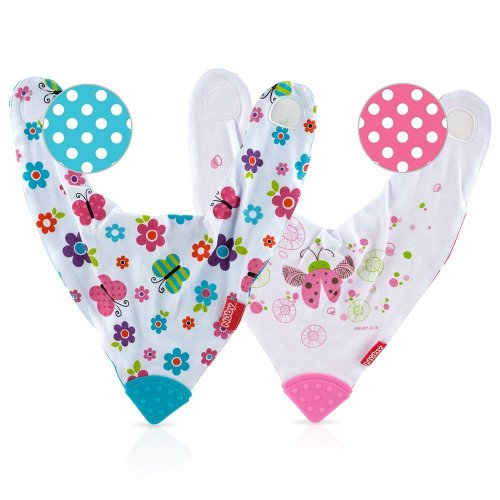Nuby UK Bandana Teething Bibs, Butterflies/Flowers Reversible, Pack of 2