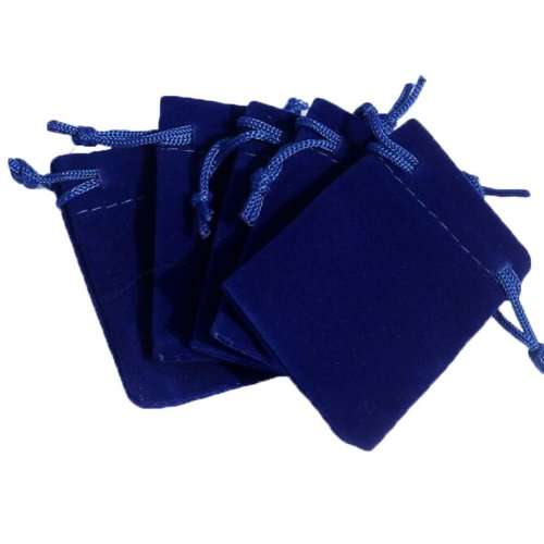 Pure Color Candy Pouch Drawstring Bag Cloth Gift Bag 35pcs-Blue