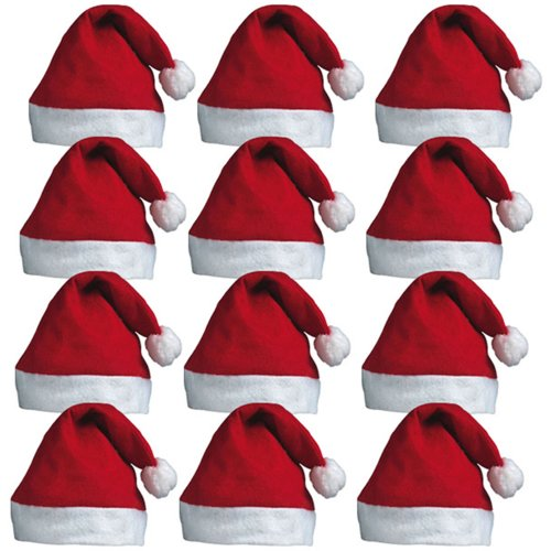 4e5c1bebc90 12 x Santa Hats - Father Christmas Red Santa Hats with Bobble for Xmas  Office Parties