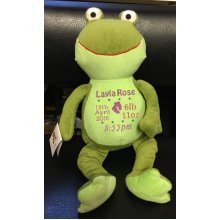 Green Frog Teddy Bear Personalised Embroidered Message Name/Birth Date